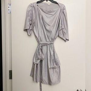 NWOT | HELMUT LANG SILVER TIE DRESS